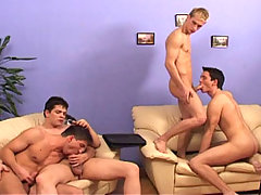 Gay Orgy with 4 guys fucking and then one gets cream pie