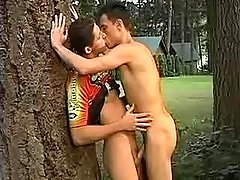 Twink gets cumflowed in the forest