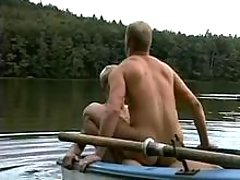 Twinks fuck in the middle of a lake